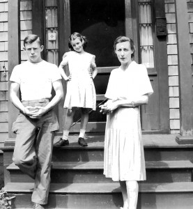 Raymond family on front steps of 23 Clark's Hill Avenue in Stamford, CT. (l-r) William M. Raymond, III (Billy), Faith Cottrell Raymond, and Marie Therese Cottrell Raymond (Petie).